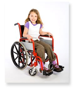 Disabled girl in wheelchair.