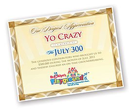"Brooklyn's Playground ""July 300"" Certificate"